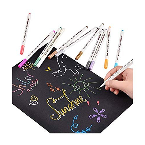 Dozenla Fine Point For Black Paper Art Rock Painting Metallic Marker Pens Permanent Markers