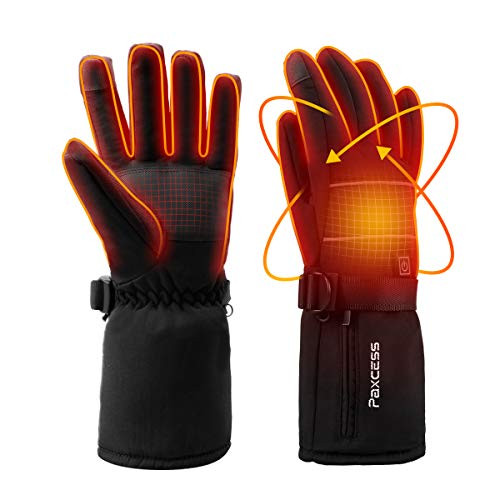 Electric Heating Gloves Battery Heated Motorcycle Gloves Rechargeable for Winter Sports SHAALEK Heated Gloves for Men Women
