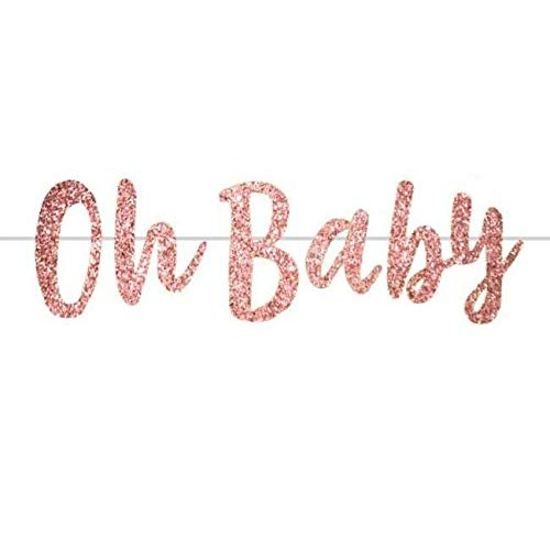 Snagshout Party Rose Gold Oh Baby Banner For Baby Shower Decorations Pre Strung Baby Shower Banner Girl Boy Welcome Baby Banner Gender Reveal Party Sign
