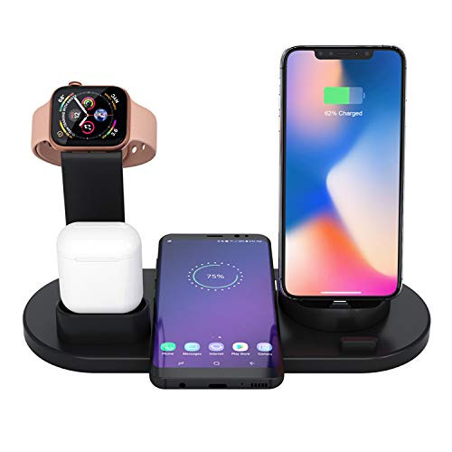 8 and Apple Watch PWJ Supplies 4 in 1 Universal Charging Station for iPhone 11 XS Supports Fast Wireless Charging Android 11 Pro White X 8 Plus Airpods Samsung