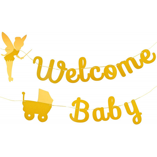Snagshout Party Welcome Baby Banner Golden Fairy Glitter Baby Shower Banner For Boy Girl Boho Baby Shower Decorations Vintage Banner And Baby Shower Sign