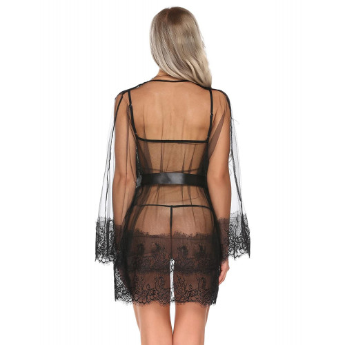d8783eb32 Bulges Women Sexy Outfits See Through Babydoll Lingerie Lace Robe Sheer  Dressing Gown