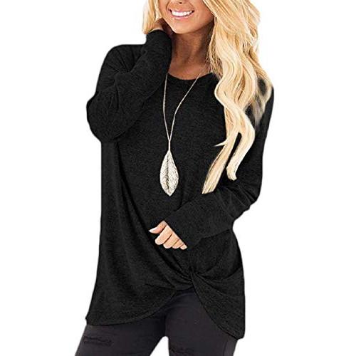 Chanyuhui Women Stylish Criss Cross V Neck Twist Knot Tops Long Sleeve T-Shirt Casual Solid Loose Tunic Shirts Blouses
