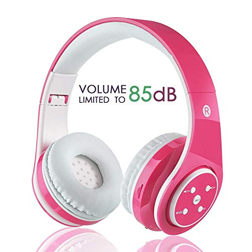 Snagshout Oxendure Kids Wireless Bluetooth Headphone With Microphone Volume Limited Foldable Earphone Children Stereo On Ear Headset For Pc Tv Tablets Smartphones Pink