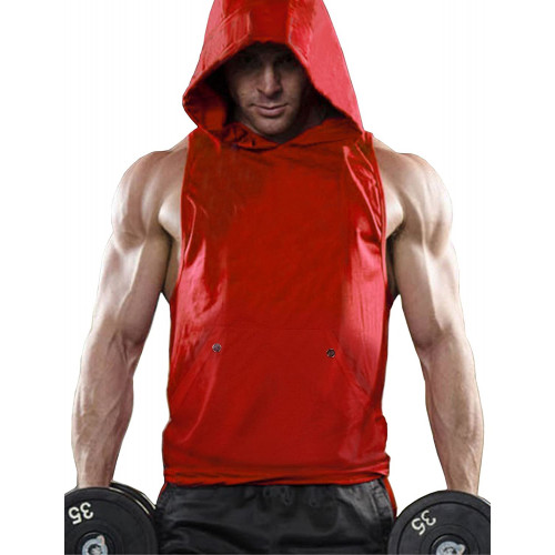 0823ab93 Daupanzees Mens Workout Hooded Tank Tops Vests Sleeveless Training Tee  Bodybuilding T-Shirt Gym Shirt Stringer Fitness Hoodies(Red, White)
