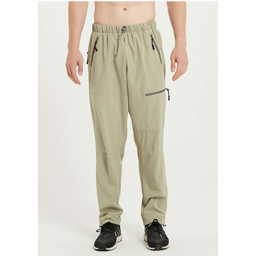 Priessei Mens Pants Outdoor Elastic-Waist Lightweight Cargo Pants Quick Dry