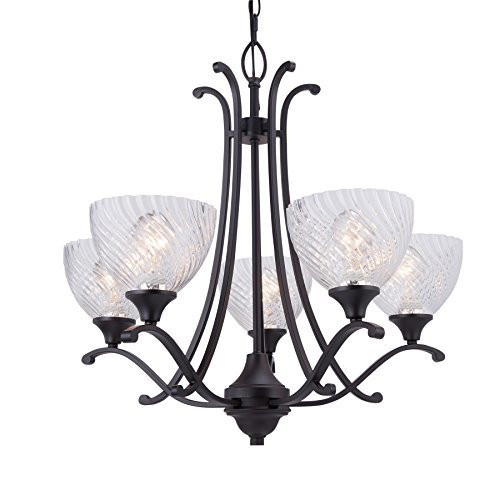Co Z 5 Light Oil Rubbed Bronze Ceiling Chandelier With Clear Cross Grained Gl Shade For Foyer Dining Room Living Family