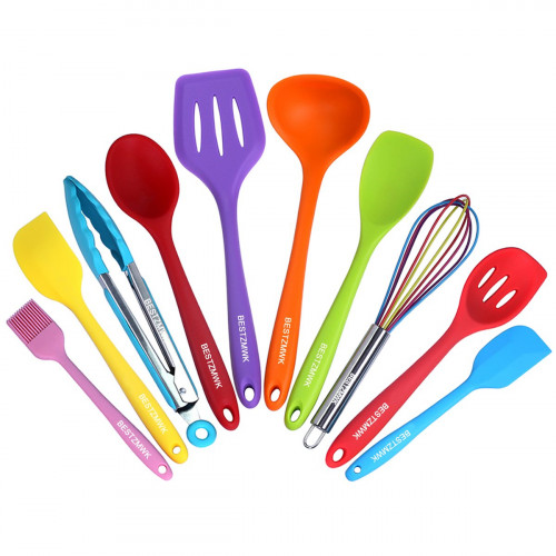 Amazing Silicone Kitchen Utensils Colorful 10 Pieces, Nonstick Cookware Kitchen  Utensil Set,Cooking Utensils Photo