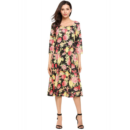 6528e2408a Hotouch Women s 3 4 Sleeve A-Line and Flare Midi Long Dress