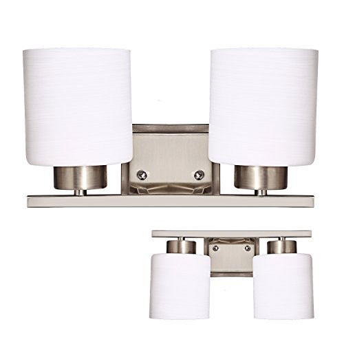 snagshout bazal bathroom wall sconces 2 bulb vanity light fixture bath light bar cover interior lighting fixture with glass shade brushed nickel white - Bathroom Light Bar