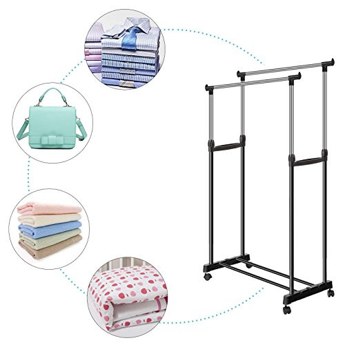 OPLON Stainless Steel 2 Rod Hanging Garment Rack Portable Adjustable Double Clothes Drying Racks Hangers With Castors And Shoe