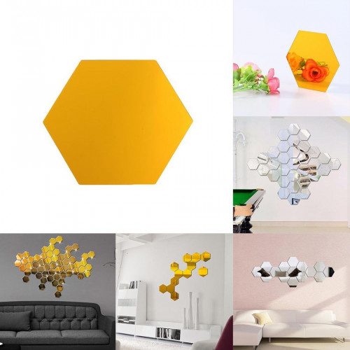 Snagshout Meflying 12pcs Hexagon Mirror Wall Stickers 3d Hexagonal