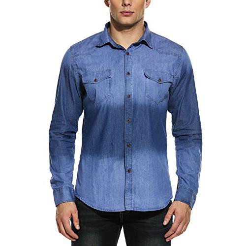 72f3e70e69cc COOFANDY Men s Casual Slim Fit Long Sleeve Dress Shirts Button Down Denim  Western Work Shirt