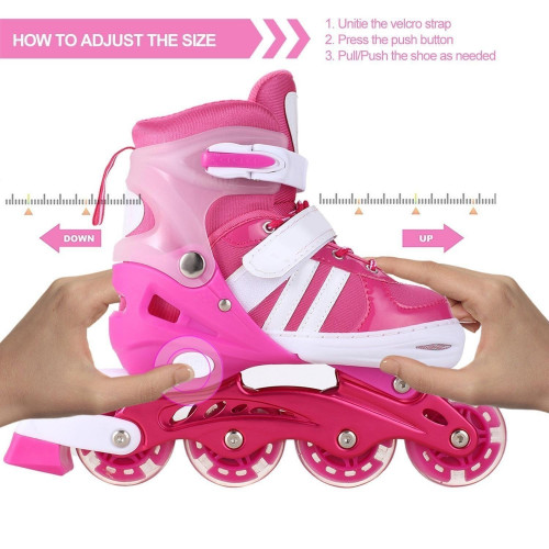 rateim Adjustable Inline Skates for Kids Girls with PU light UP wheels Adjustable Rollerblades for Girls Blue Pink