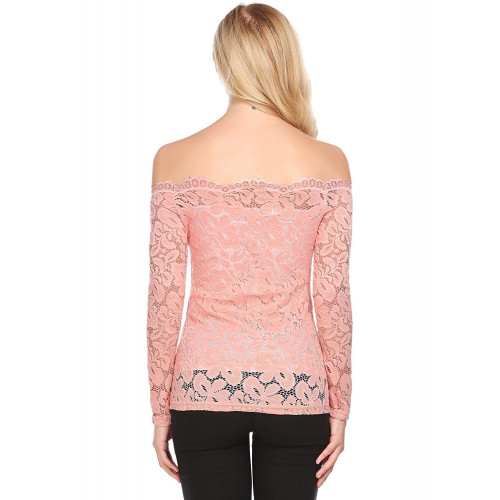 df54249bb9b Zeagoo Women Sexy Floral Lace Off Shoulder Shirt Top Long Sleeve Scalloped  Neck T Shirts