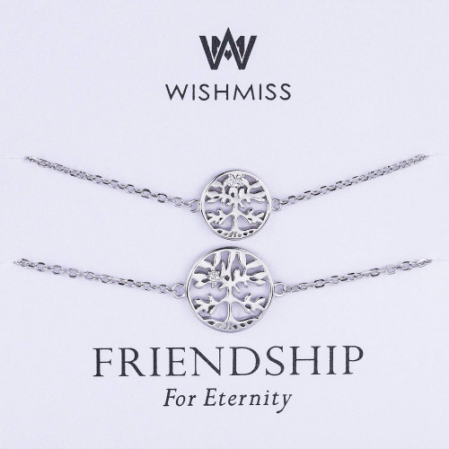 1794093feff0 WISHMISS 2 Pieces Women Girl Sterling Silver Tree of Life Family Tree Charm  Friendship Sister Bracelets Set