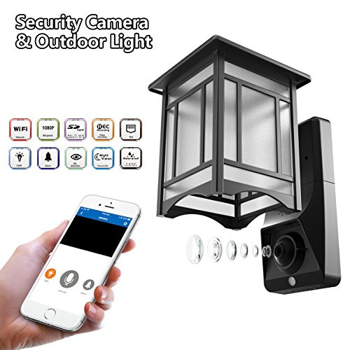 Lamp Camera Outdoor Wifi Security Wall Light With Motion Sensor Smart Exterior Surveillance System For Home 1080p Hd Video Front Porch Lights Can Work