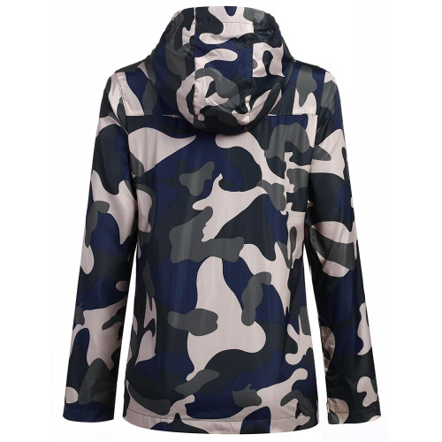 ELESOL Women s Military Coat Softshell Lightweight Camouflage Jacket Hoodie  Gray S 01d8792190