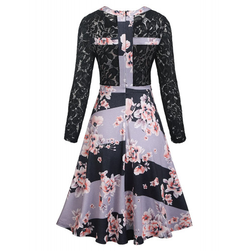 1c51ad4a0f269 ELESOL Women's Floral Lace A Line Long Sleeve Vintage Cocktail Party Swing  Dress Black L