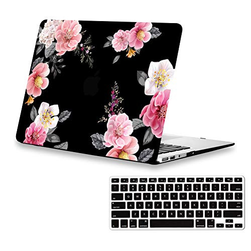 separation shoes 907b9 de88a Lapac MacBook Air 13 inch Case Floral, Pink Flower Mac Case for A1466 A1369  MacBook Air 13 inches, Black Rubber Coated Soft-Touch Hard Shell Case with  ...