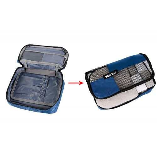 4 Pieces luggage packing organizers with Shoe Bag Blue SmarTour packing cubes for travel