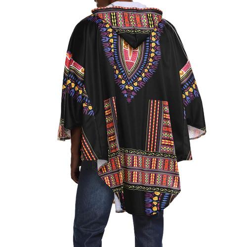 COOFANDY Mens Poncho Cape Hoodie African Print Dashiki Fashion Halloween  Irregular Coat Pullover Cloak,Black,Large