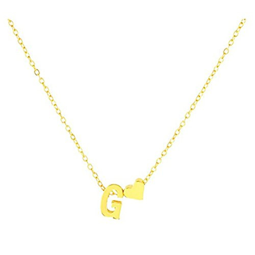 Snagshout heyuni exquisite heart alphabet pendant necklace with exquisite heart alphabet pendant necklace with english letter pendantgoldg mozeypictures Choice Image