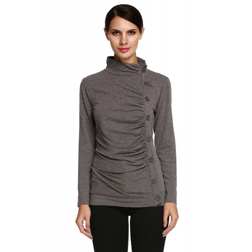 0b15141059588b Hersife Women s Button Decor Cowl Neck Casual Slim Tunic Tops Ruched Long  Sleeves T Shirt Blouse