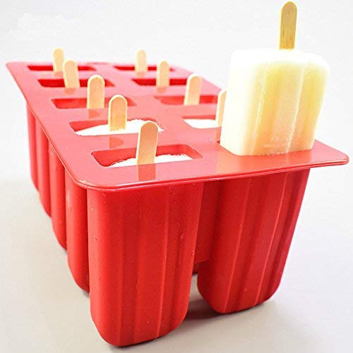 Ice Popsicle Molds With Wooden Sticks Cover Ice Pop Mold With Lids Bpa Free Food Grade Non Toxic Dishwasher Safe Reusable Ice Lolly