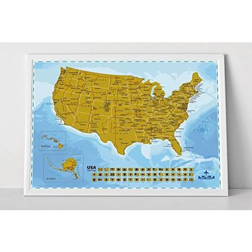 Snagshout | Wonderful Maps Scratch Off USA Map Poster With All US ...