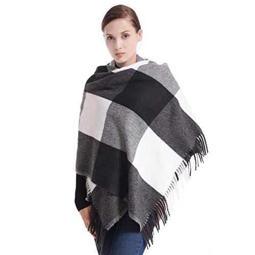 7302c1951 Snagshout | 60% Off Women's Cashmere Black White Tartan Shawl Wraps Gift  Box Wrapped Large Winter Pashmina Stole Scarf for Ladies