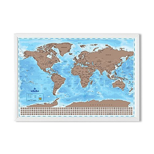 Snagshout wonderful maps scratch off world map with country flags snagshout wonderful maps scratch off world map with country flags us states australian states and canadian provinces on ocean blue background gumiabroncs