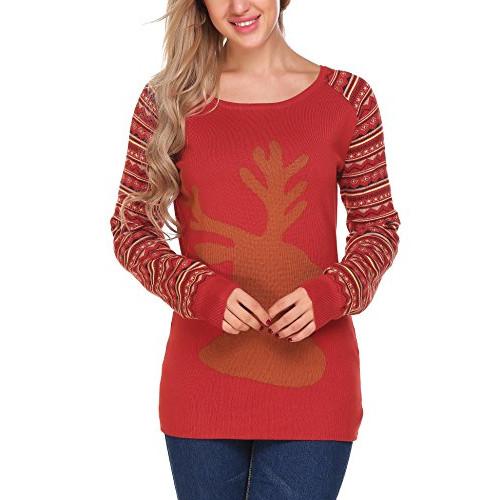 Wine Christmas Sweater.Elesol Women Ugly Christmas Sweater Reindeer Pullover Raglan Sweatshirt Wine Red Xxl