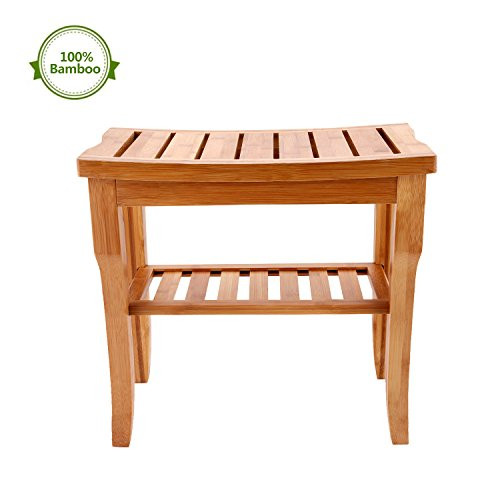 Astonishing Bamboo Shower Bench Seat Wooden Spa Bench Stool With Storage Shelf Bath Seat Bench Stool Perfect For Indoor Or Outdoor Theyellowbook Wood Chair Design Ideas Theyellowbookinfo