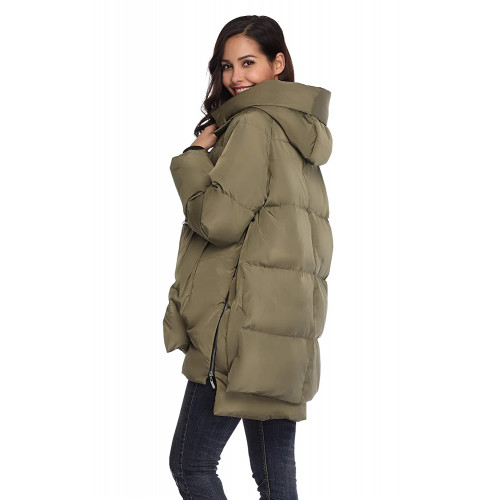 Shanghai Bund Womens Thickened Down Jacket with Hood Winter Warm Hooded Parka Coat