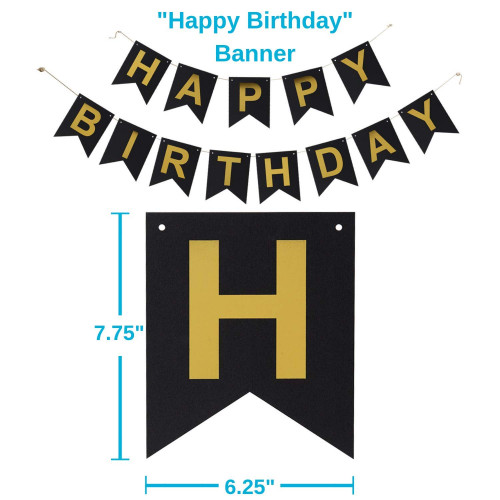 Houseables 40th Birthday Decorations Party Supply Kit Black Gold 40 Jumbo Numbers 20 Latex 4 Star Shaped Mylar Balloons Happy Bday Banner
