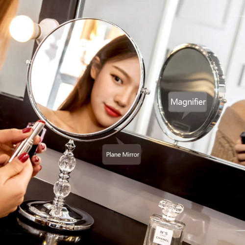 b3ce52b88900 GloDeals 7-inch Makeup Vanity Mirror 3x Magnifying Mirror 360 Degree  Rotation Makeup Vanity with Crystal ball Tabletop Bathroom Mirror and Home  Decor