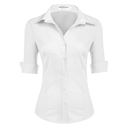 b09e9bd7f52 Snagshout | Hotouch Womens Basic Long Sleeve Cotton Simple Button Down Shirt