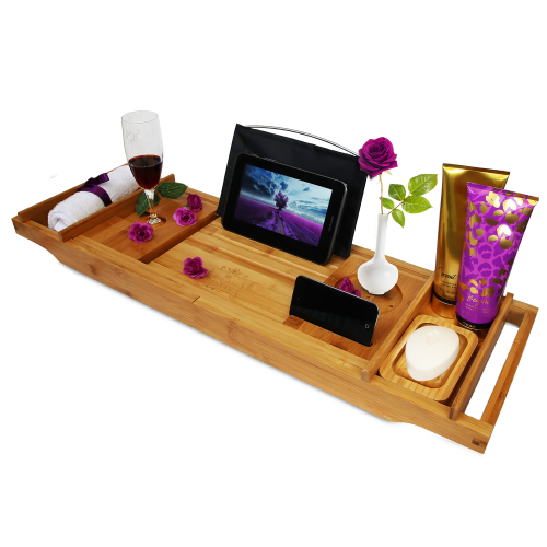 Snagshout | Bamboo Bathtub Caddy - A Great Gift Idea!