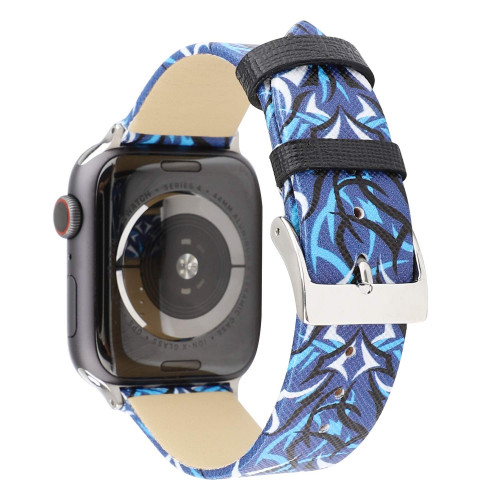 6f94da7f22eef WONMILLE Floral Band Compatible with Apple Watch Band 38mm 40mm 42mm 44mm,  Leather Band Flower Pattern Printed Strap Wristbands Replacement for iWatch  ...