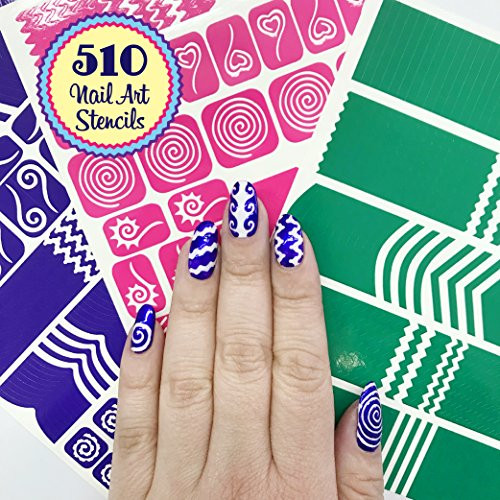 510 Nail Art Stencils Vinyl , 22 Different Shapes Big Hearts, ZigZag,  French Tip \u0026 More Adhesives Stripe Guides Patterns Designs 3 Sheets  Supplies