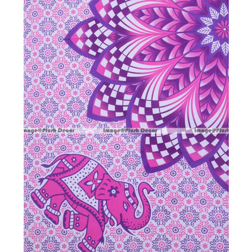 1857a25358f4 Plush Decor Large Indian Elephant Tapestry Boho Mandala Wall Tapestries  Hippie Bedsheet Bohemian Bedspread Beach Throw (Pink Purple, 235x215cms)