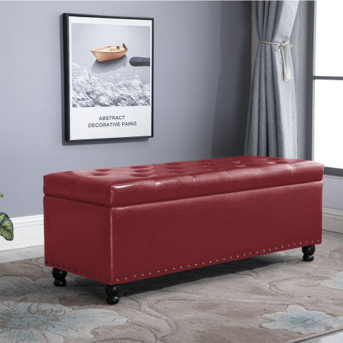 Prime Nb Liner Rectangular Faux Leather Storage Ottoman Bench Tufted Cushion Top Nail Head Trim Wine Red Gmtry Best Dining Table And Chair Ideas Images Gmtryco