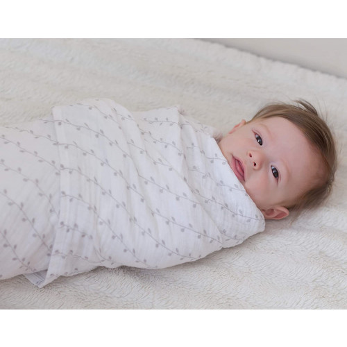 "Muslin Swaddle Blanket 100/% Soft Muslin Cotton 3 Pack 47/""x 47/"" Classic Grey"