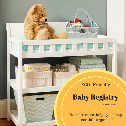 Diaper Caddy for Baby Room D/écor and Nursery Storage Bin Turquiose Portable Backseat Car Organizer Girl or Boy Baby Shower Gift Basket Registry Must Have Hamper