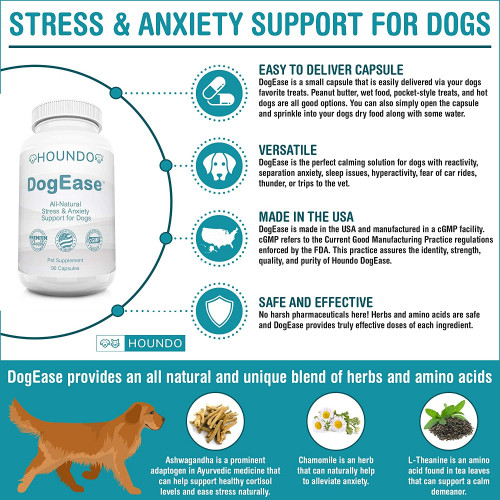 Houndo DogEase | Ashwagandha + L-Theanine + Chamomile | Stress & Anxiety  Support for Dogs | Calming Aid Supplement | 90 Capsules