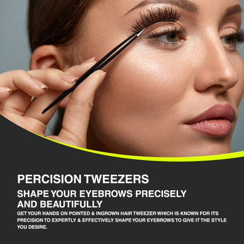 Tweezty Tweezers Set of Pointed & Slanted Tweezer - The Best Tweezers for  Your Daily Use Eyebrows Shaping, Ingrown Hair,Splinters,