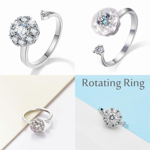 SEWOR Adjustable Fidget Ring Elegant Spinner Diamond Delicate Snowflake Rotating Ring for Women Girls Anti Anxiety,Autism