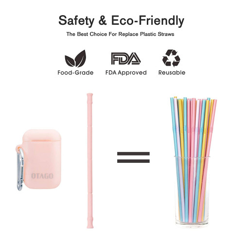 OTAGO 2 pack Collapsible Reusable Straws, Food-Grade Foldable Silicone  Drinking Straw with Portable Case and Cleaning Brush, for Cold Beverage,  Coffee