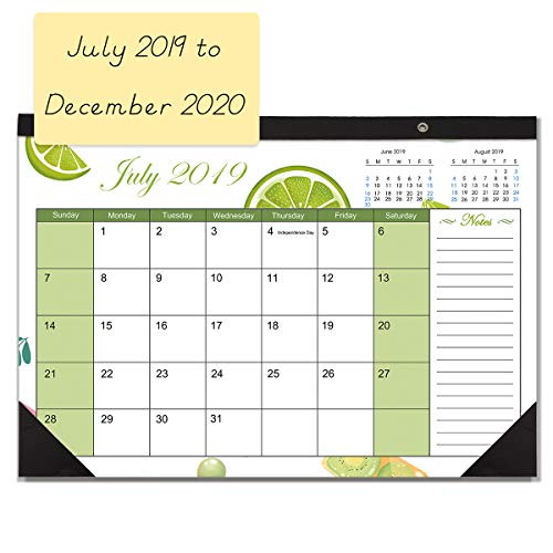 2020 Desk Calendar.Desk Calendar 2019 2020 Monthly Large Wall Calendar Planner With Plastic Cover 17 X 11 5 Big Blotter Pad For Teacher Office Or Home